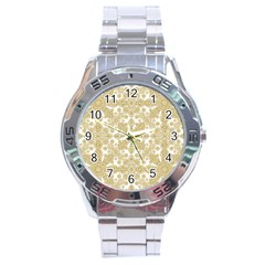 Golden Floral Boho Chic Stainless Steel Analogue Watch by dflcprints
