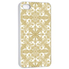 Golden Floral Boho Chic Apple Iphone 4/4s Seamless Case (white) by dflcprints