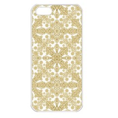 Golden Floral Boho Chic Apple iPhone 5 Seamless Case (White)