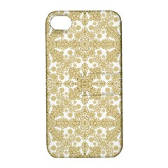 Golden Floral Boho Chic Apple Iphone 4/4s Hardshell Case With Stand by dflcprints