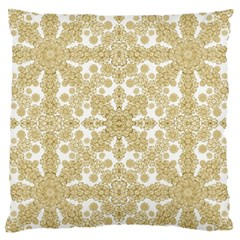 Golden Floral Boho Chic Large Flano Cushion Case (two Sides) by dflcprints