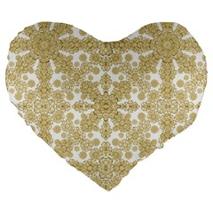 Golden Floral Boho Chic Large 19  Premium Flano Heart Shape Cushions by dflcprints