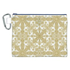 Golden Floral Boho Chic Canvas Cosmetic Bag (xxl) by dflcprints