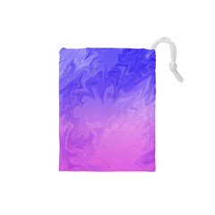 Ombre Purple Pink Drawstring Pouches (small)  by BrightVibesDesign