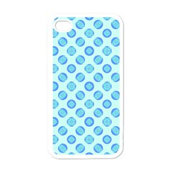 Pastel Turquoise Blue Retro Circles Apple Iphone 4 Case (white) by BrightVibesDesign