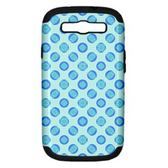 Pastel Turquoise Blue Retro Circles Samsung Galaxy S Iii Hardshell Case (pc+silicone) by BrightVibesDesign