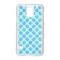 Pastel Turquoise Blue Retro Circles Samsung Galaxy S5 Case (white) by BrightVibesDesign