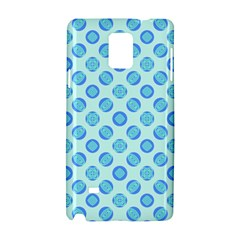 Pastel Turquoise Blue Retro Circles Samsung Galaxy Note 4 Hardshell Case by BrightVibesDesign