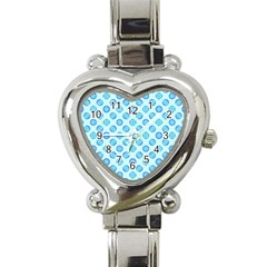 Pastel Turquoise Blue Retro Circles Heart Italian Charm Watch by BrightVibesDesign