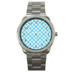 Pastel Turquoise Blue Retro Circles Sport Metal Watch by BrightVibesDesign