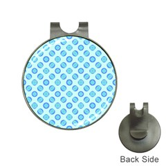 Pastel Turquoise Blue Retro Circles Hat Clips With Golf Markers by BrightVibesDesign
