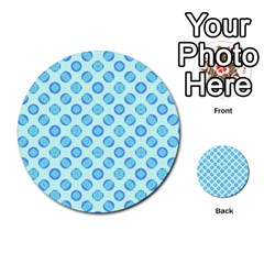 Pastel Turquoise Blue Retro Circles Multi Purpose Cards (round)  by BrightVibesDesign
