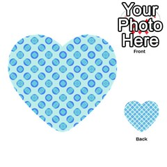 Pastel Turquoise Blue Retro Circles Multi Purpose Cards (heart)  by BrightVibesDesign