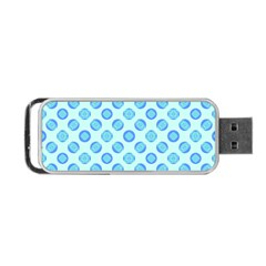 Pastel Turquoise Blue Retro Circles Portable Usb Flash (one Side) by BrightVibesDesign