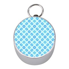 Pastel Turquoise Blue Retro Circles Mini Silver Compasses by BrightVibesDesign