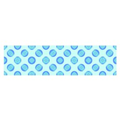 Pastel Turquoise Blue Retro Circles Satin Scarf (oblong) by BrightVibesDesign
