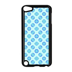 Pastel Turquoise Blue Retro Circles Apple Ipod Touch 5 Case (black) by BrightVibesDesign