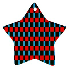 Black Red Rectangles Pattern                                                          ornament (star) by LalyLauraFLM