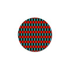 Black Red Rectangles Pattern                                                          			golf Ball Marker by LalyLauraFLM