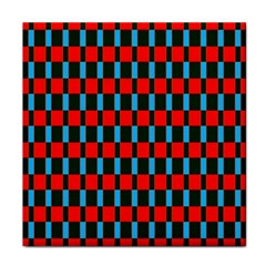 Black Red Rectangles Pattern                                                          face Towel by LalyLauraFLM