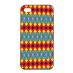 Rhombus And Other Shapes Pattern                                                            			apple Iphone 4/4s Seamless Case (black) by LalyLauraFLM