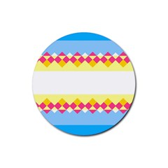 Rhombus And Stripes                                                             rubber Round Coaster (4 Pack) by LalyLauraFLM