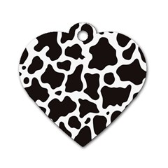 Cow Pattern Dog Tag Heart (two Sides) by sifis