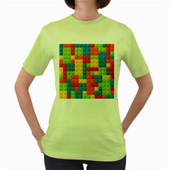 Lego Bricks Pattern Women s Green T-Shirt by Salmanaz
