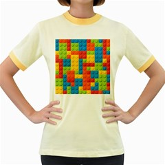 Lego Bricks Pattern Women s Fitted Ringer T-Shirt by Salmanaz