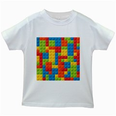 Lego Bricks Pattern Kids White T-Shirt by Salmanaz