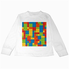 Lego Bricks Pattern Kids Long Sleeve T-Shirt by Salmanaz