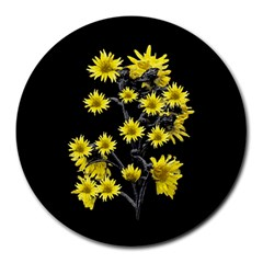 Sunflowers Over Black Round Mousepads by dflcprints