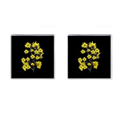 Sunflowers Over Black Cufflinks (square) by dflcprints