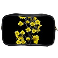 Sunflowers Over Black Toiletries Bags 2 Side by dflcprints