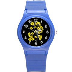 Sunflowers Over Black Round Plastic Sport Watch (s) by dflcprints