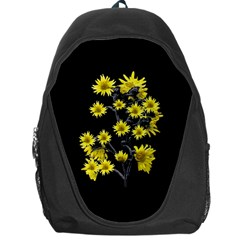 Sunflowers Over Black Backpack Bag by dflcprints