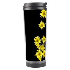 Sunflowers Over Black Travel Tumbler by dflcprints