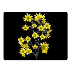 Sunflowers Over Black Double Sided Fleece Blanket (small)  by dflcprints