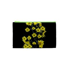 Sunflowers Over Black Cosmetic Bag (xs) by dflcprints