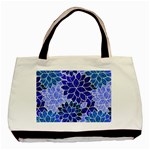 Azurite Blue Flowers Basic Tote Bag