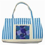 Azurite Blue Flowers Striped Blue Tote Bag