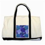 Azurite Blue Flowers Two Tone Tote Bag