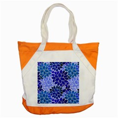 Azurite Blue Flowers Accent Tote Bag