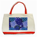 Azurite Blue Flowers Classic Tote Bag (Red)