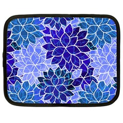 Azurite Blue Flowers Netbook Case (Large)