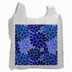 Azurite Blue Flowers Recycle Bag (two Side)  by KirstenStar