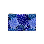 Azurite Blue Flowers Cosmetic Bag (Small)