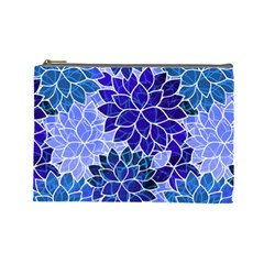 Azurite Blue Flowers Cosmetic Bag (large)  by KirstenStar