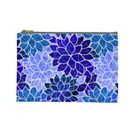 Azurite Blue Flowers Cosmetic Bag (Large)
