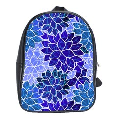 Azurite Blue Flowers School Bags(Large)